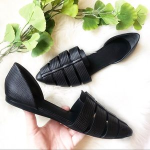 Vince Flats | D'Orsay Black Leather Pointed Toe